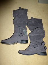 Casandra Knee Length Boots in Grey Faux Suede New. FREE P&P (Style LB50028X)