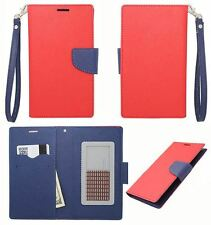 Eagle Red Blue Leather ID Flip Wallet Universal Pouch Cover Case For ZTE Phones