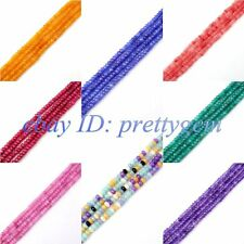 "2X4MM PRETTY FACETED RONDELLE JADE GEMSTONE BEADS STRAND 15"" SELECT BY COLOR"