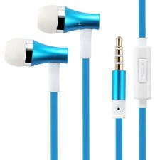 SUPER BASS FLAT WIRED BLUE EARBUDS HANDSFREE EARPHONES HEADSET w MIC for TABLETS