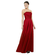 A-Line Strapless Pleated Taffeta Formal Evening Gown Bridesmaid Dress Scarlet