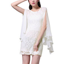Short Chiffon Lace Cocktail Dress Club Party Wear with Fluted Sleeve Ivory