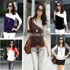 5 Colors Round Neck T-Shirt DZ88 Trendy New Womens Splice Casual Long Sleeve