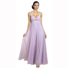 Beaded Halter Neck Full Length Formal Evening Gown Bridesmaid Dress Lilac