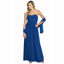 Beaded Strapless Formal Long Evening Gown Bridesmaid Dress with Shawl Royal Blue