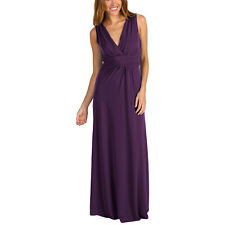 Chic Sleeveless Long Jersey Maxi Cocktail Party Evening Dress Purple