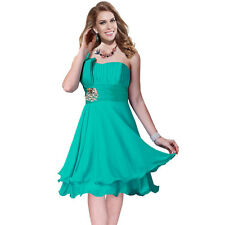 One Shoulder 2 Layer Chiffon Formal Cocktail Prom Party Dress Aqua Blue