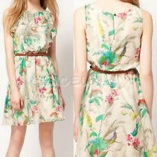 Summer Chiffon Sleeveless Floral Printing Dress Sundress With Belt E0Xc