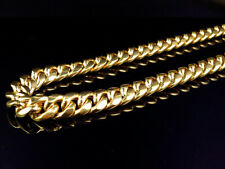 Hollow 10K Yellow Gold Miami Cuban Link Chain Necklace 26-36 inches (10 mm)