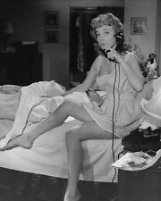 SYLVIA SYMS LEGGY ON BED PORTRAIT PHOTO OR POSTER