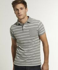 New Mens Superdry Contrast Pocket Simple Stripe Polo T-Shirt Dark Marl Grey AB