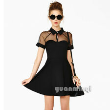 Sexy Women Collared Sheer Mesh Cute Cocktail Party Club Skater Flared Mini Dress
