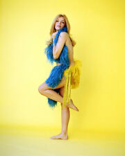 KAREN JENSEN BAREFOOT SEXY POSE WITH BLUE FEATHERS AGAINST CHEST PHOTO OR POSTER
