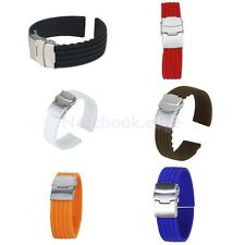 Silicon Rubber Waterproof Divers Watch Strap Band 18-24mm Deployment Clasp Sport