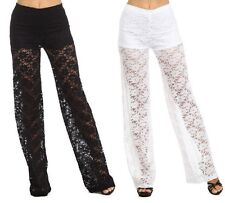 SEXY BLACK WHITE FLORAL CROCHET LACE WIDE LEG PANTS S M L