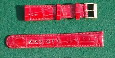 16 18 19 20mm Fire Engine Red Genuine Real Crocodile Watchband Bands Strap USA