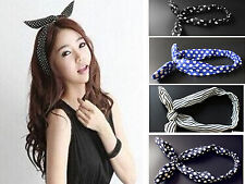 hot girl beautiful Cute Rabbit Bunny Ear Wire Headband Hair Band Bow HairBand
