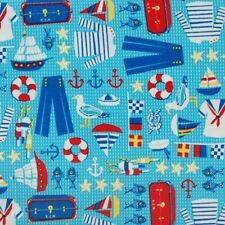 Nautical Sailing Boats And Accessories Of The Sea 100% Cotton Fabric