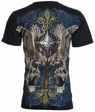 UNTAMED Men T-Shirt SKULLS EAGLE WINGS Tattoo Biker UFC ROAR XZAVIER M-3XL $35 a