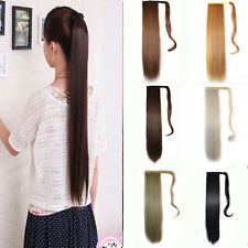 "22"" Wrap Around Clip In Ponytail Hair Extension Piece Straight Long 12 Colors"