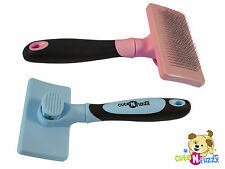 cuteNfuzzy Self Cleaning Pet Slicker Brush for Cats & Dogs Select Blue or Pink