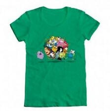 Juniors Green Animated TV Show Adventure Time Group Roll Ball T-shirt Tee