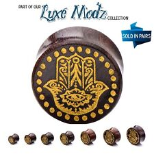Double Flared Dark Tamarind Wood Plugs with Gold Hamsa - 7 Sizes - Sold as Pair
