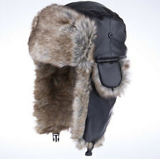 NEW Canadian Beaver Fur Hat PU Lerther Warm Ushanka trapper style Men's DSUSSL