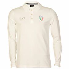 Mens Armani Ea7 Italy Long Sleeve Polo Shirt In White From Get The Label