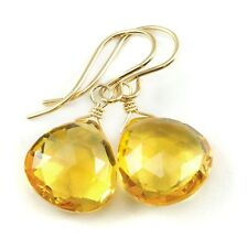 Yellow Citrine Earrings Faceted Heart drops 14k Gold Filled or Sterling Silver