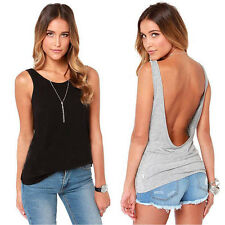 Fashion Women Sleeveless Backless Vest Tank Tops Sexy T Shirt Tops Blouses Shirt