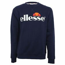 ELLESSE SWEATSHIRT SMASH MENS DESIGNER NAVY RETRO CREW SWEAT TOP