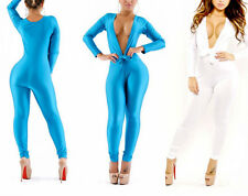 Sexy Womens Deep-V Overalls Zipper Stretch Bodycon Rompers Long Sleeve Jumpsuits