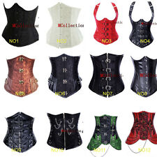 Gothic Steel Boned Faux Leather Underbust SteamPunk Corset Waist Training Top