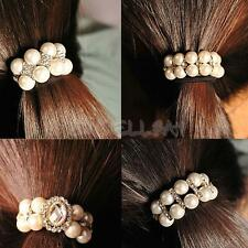 New Fashion Sweet Lady Girl Pearl Rhinestone Strong Hair Band Rope E0Xc