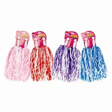 POM POMS Cheer Leader Batons - Party Fancy Dress Hen BLUE RED PURPLE PIN POMPOM