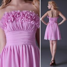 Cheap Strapless Cocktail Evening Flower Party Wedding Prom Short Bridal Dress