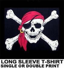 LAUGHING PIRATE SKULL CROSSED BONES JOLLY ROGER EYE PATCH CARIBBEAN T-SHIRT WS27