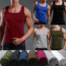 Men's Plain T-Shirts Tank Top Muscle Sleeveless Tee M-XL A-Shirt Cotton Sports