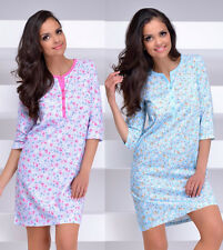 Nursing 100%cotton nightdress nightshirt breastfeeding Breastfeeding long sleeve