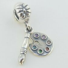 Sterling Silver 925 European Charm Artist's Palette Paint Brush Bead 88433