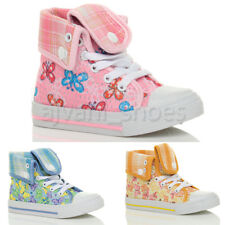 GIRLS CHILDRENS KIDS LACE UP HI HIGH TOP ANKLE TRAINERS BOOTS SHOES SIZE