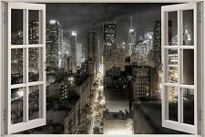 Huge 3D Window Fantasy New York City View Wall Stickers Decal Wallpaper Mural