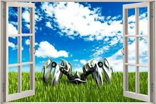 Huge 3D Window Machine scape View Wall Stickers Film Decal Wallpaper Mural
