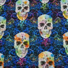 Floral Swirls Funky Candy Skulls 100% Cotton Fabric