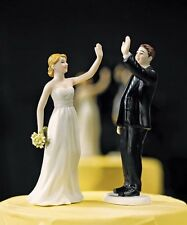 High Five Bride And Groom Funny Wedding Cake Topper WITH Custom Hair Colors