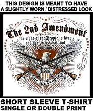 2ND SECOND AMENDMENT THE RIGHT TO BARE ARMS GUN RIFLE PISTOL BULLET T-SHIRT W577