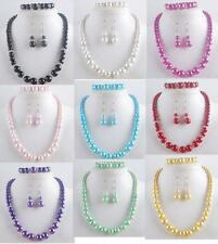 Man-made Pearl Necklace Bracelet Earrings Set 9 Colors