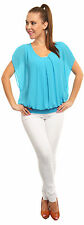 Ladies Amazing Lined Bubble Chiffon Look Top Short Wide Sleeve MADE IN ITALY 788