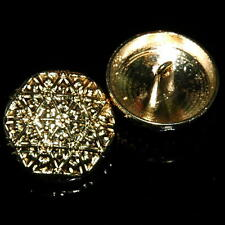 10 Sewing Buttons Craft 22mm Metal Shank Vintage-Like Craft Round Gold Diy Lot